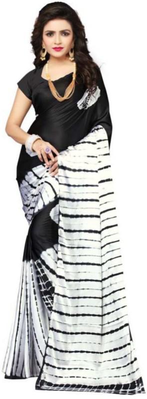 Aruna Sarees Printed Gajee Satin, Silk Saree(Black)