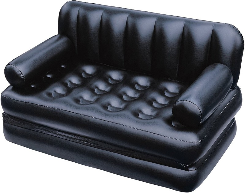Classic Couture With Free Electric Pump PP 3 Seater Inflatable Sofa(Color - Black)