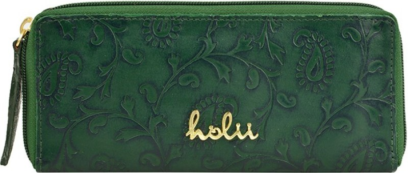 Holii Women Green Genuine Leather Wallet(8 Card Slots)