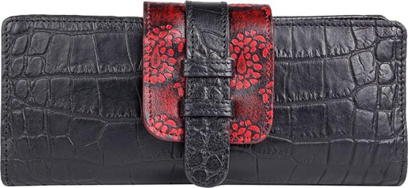 Holii Women Black Genuine Leather Wallet(14 Card Slots)