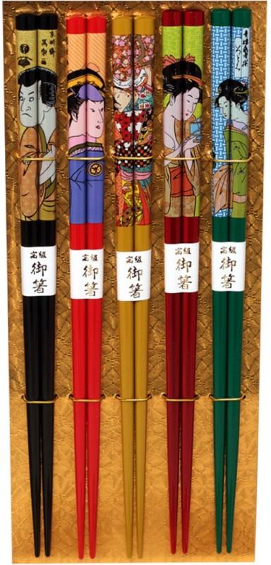 Nizona Eating, Decorative Wooden Japanese Chopstick(Multicolor Pack of 5)