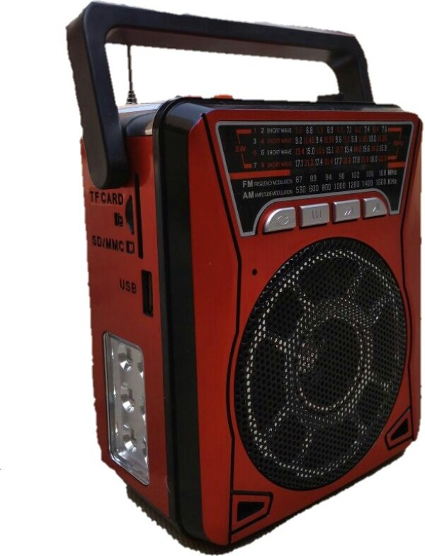 CRETO latest high quality sound 10 band FM/AM/SW Radio supports memory card, usb pendrive, aux, built in torch in side panel FM Radio(Red, Black)
