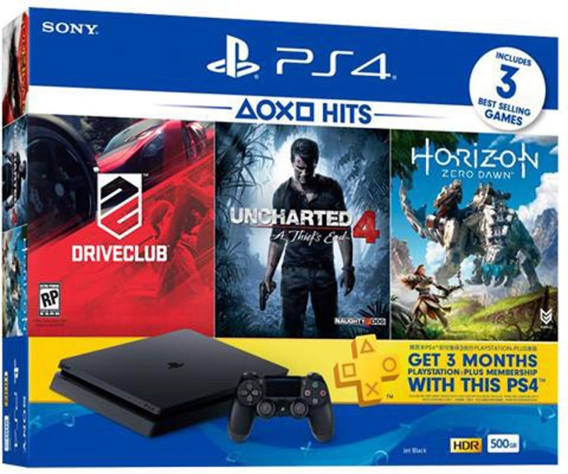 Sony PlayStation 4 (PS4) Slim 500 GB with Horizon Zero Dawn, Drive Club and Uncharted 4(Jet Black)
