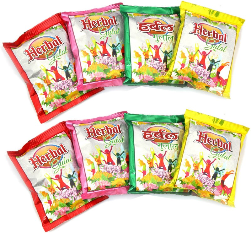 Ghasitaram Gifts Holi Color Powder Pack of 4(Green, Pink, Red, Yellow, 800 g)