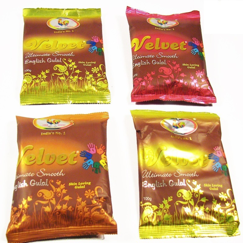Ghasitaram Gifts Holi Color Powder Pack of 4(Green, Pink, Red, Yellow, 320 g)