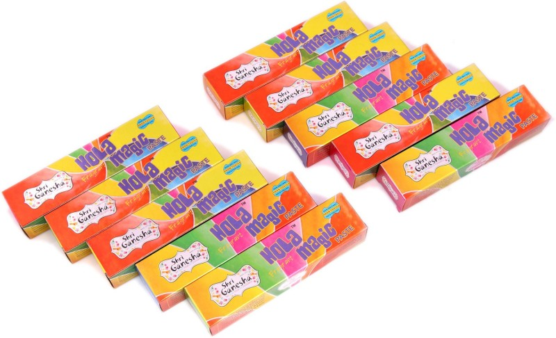 Ghasitaram Gifts Holi Color Powder Pack of 10(Green, Pink, Red, Yellow, 500 g)
