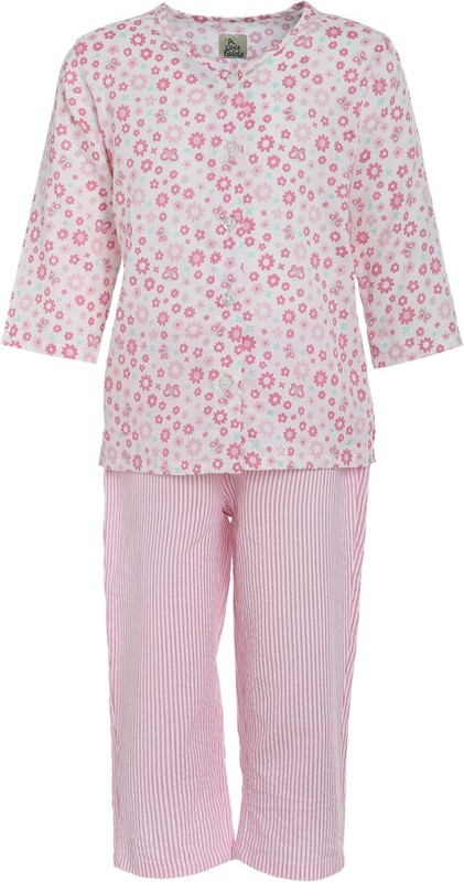 A Little Fable Kids Nightwear Girls Printed Cotton(Pink Pack of 2)