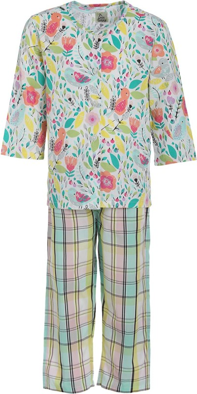 A Little Fable Kids Nightwear Girls Printed Cotton(Green Pack of 2)