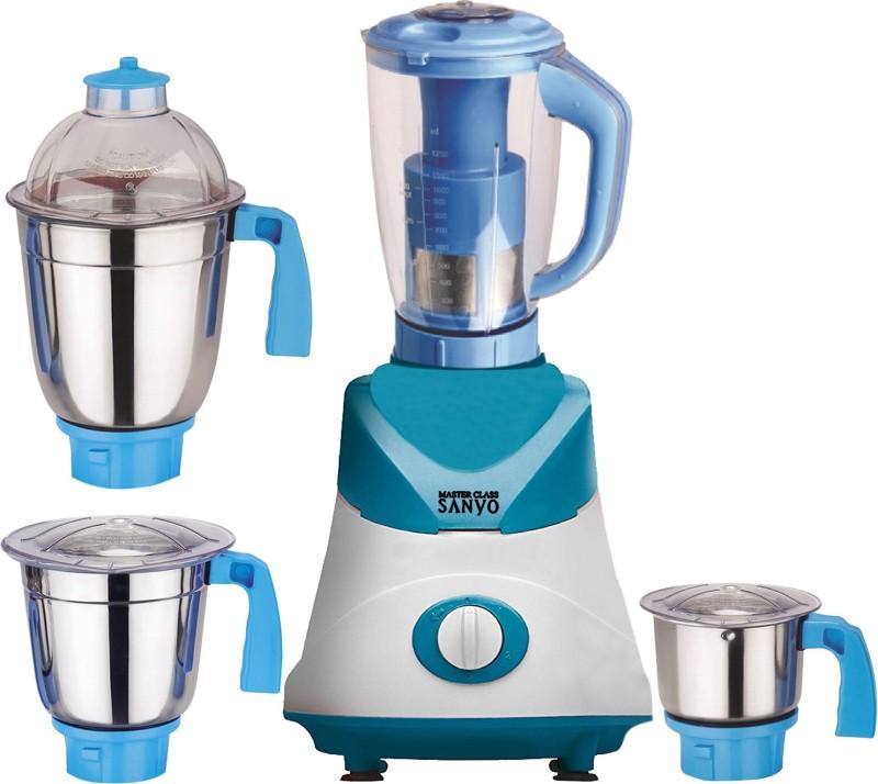 MasterClass Sanyo MG TA FEB 18 MG18 TA 116 ( 1 Large Jar, 1 Medium Jar and 1 Chuntey Jar) 550 W Juicer Mixer Grinder(White, Blue, 4 Jars)