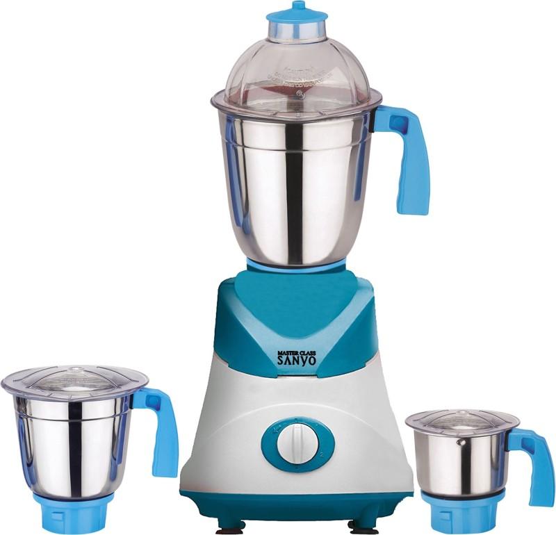 MasterClass Sanyo MG TA FEB 18 MG18 TA 105 ( 1 Large Jar, 1 Medium Jar and 1 Chuntey Jar) 1000 W Mixer Grinder(White, Blue, 3 Jars)