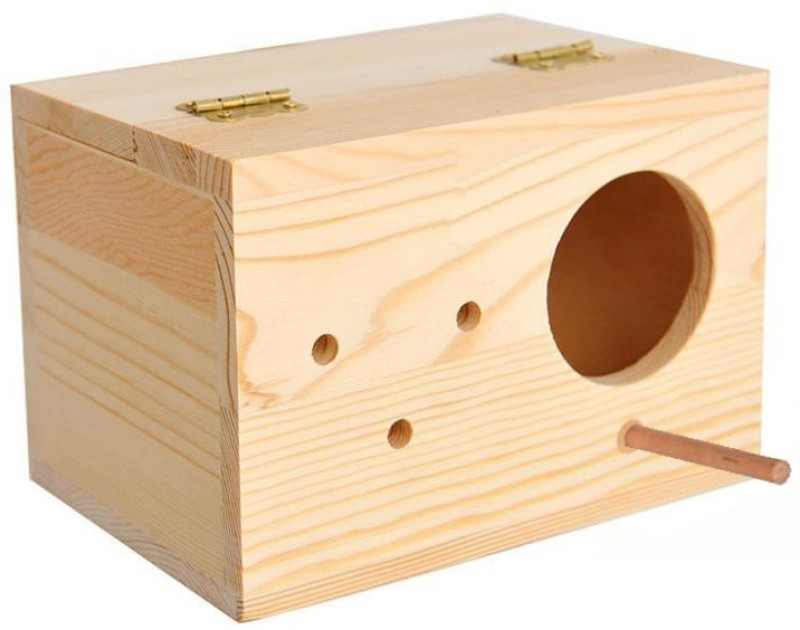Sage Square Natural Wood Mountable Nest / Breeding Box with Perch for Cockatiel, Parrot, Sun Conure, Pionus, Quaker Parrot Birds Bird House