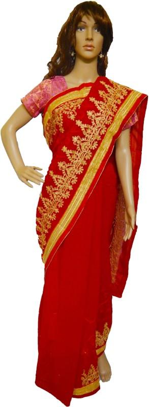 Rupakshara Embroidered Phulkari Heavy Georgette Saree(Red)