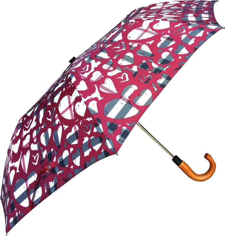 Johns Topmatic Auto Open with wooden Handle Umbrella(Maroon)
