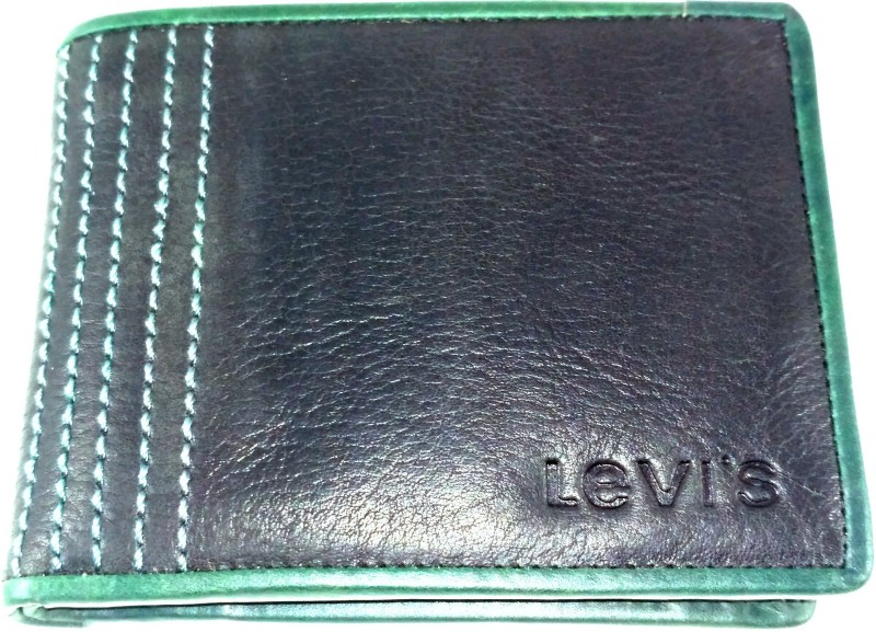 Levis Men Black, Green Genuine Leather Wallet(4 Card Slots)