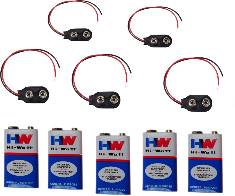 Amakart Battery - 5 Pcs 9 VOLTS HW BATTERY with 5 Pc Connector, HI-WATT 100% Original 9V Long Life Carbon Zinc Batteries(Multicolor)
