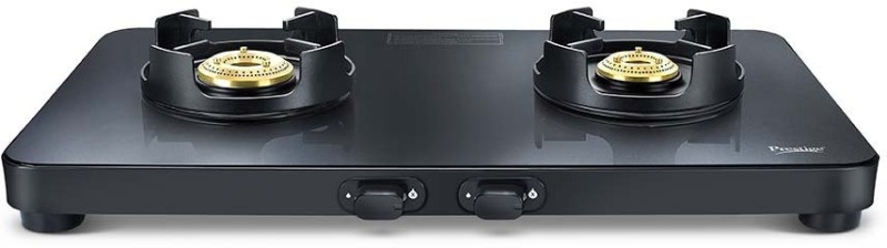 Prestige Edge Black Glass Manual Gas Stove(2 Burners)