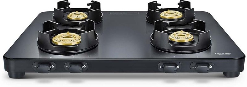 Prestige Edge Black Glass Manual Gas Stove(4 Burners)