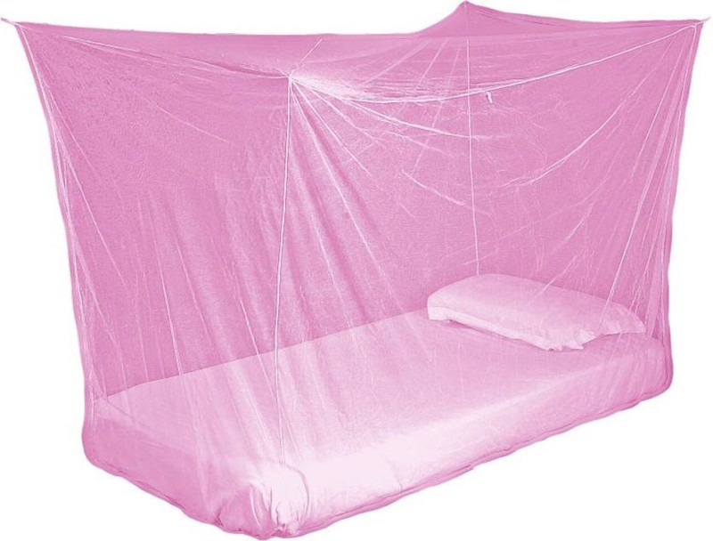 Shreejee Nylon Adults single Bed Pink color Mosquito Net 3x6 feet 1 Mosquito Coil