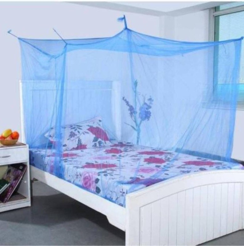 Shreejee Nylon Adults single Bed blue color Mosquito Net 1 Mosquito Coil