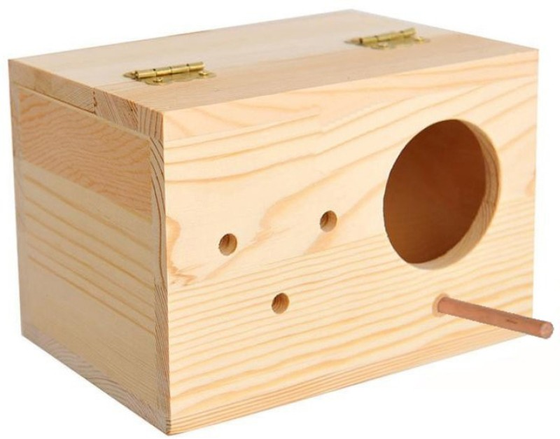 Sage Square 9 Inches Jumbo Size Natural Wood Mountable Nest Cum Breeding Box With Perch Attached For Birds Bird House