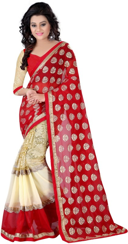 Exclusive Designer Embroidered Fashion Poly Georgette Saree(Red)