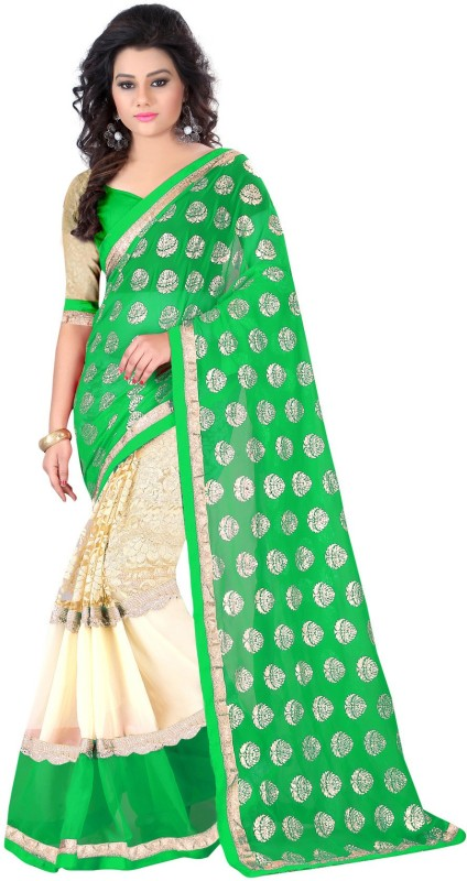Exclusive Designer Embroidered Fashion Poly Georgette Saree(Green)