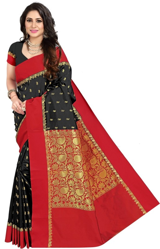 JagannathSaree Self Design Banarasi Silk Saree(Black, Red)