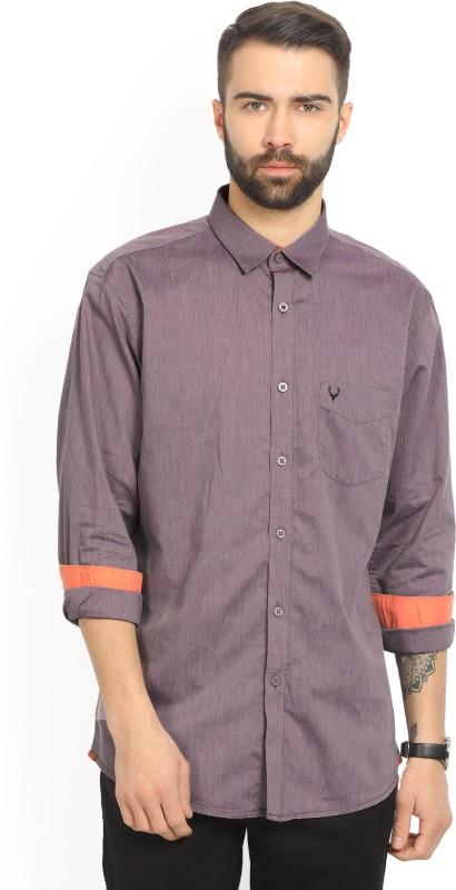 Allen Solly Men's Solid Casual Purple Shirt