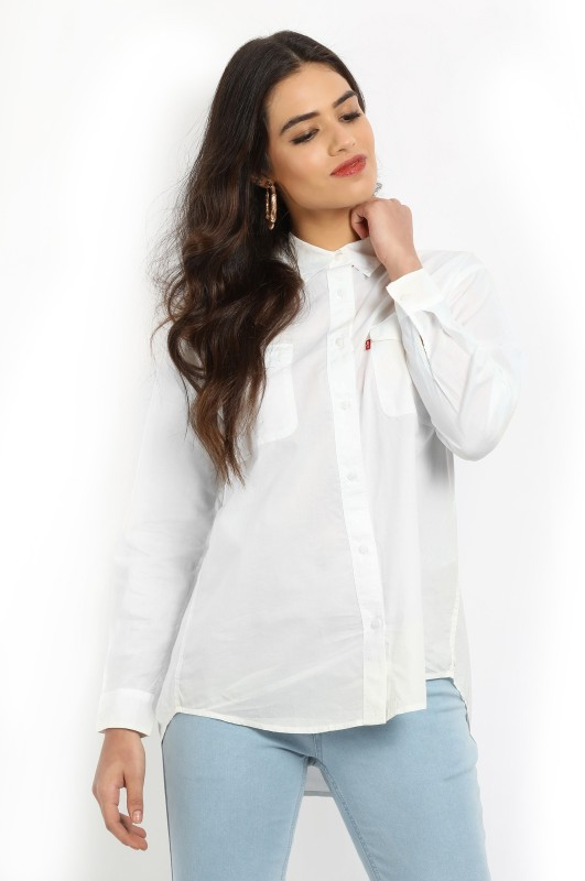 Levis Womens Solid Casual White Shirt
