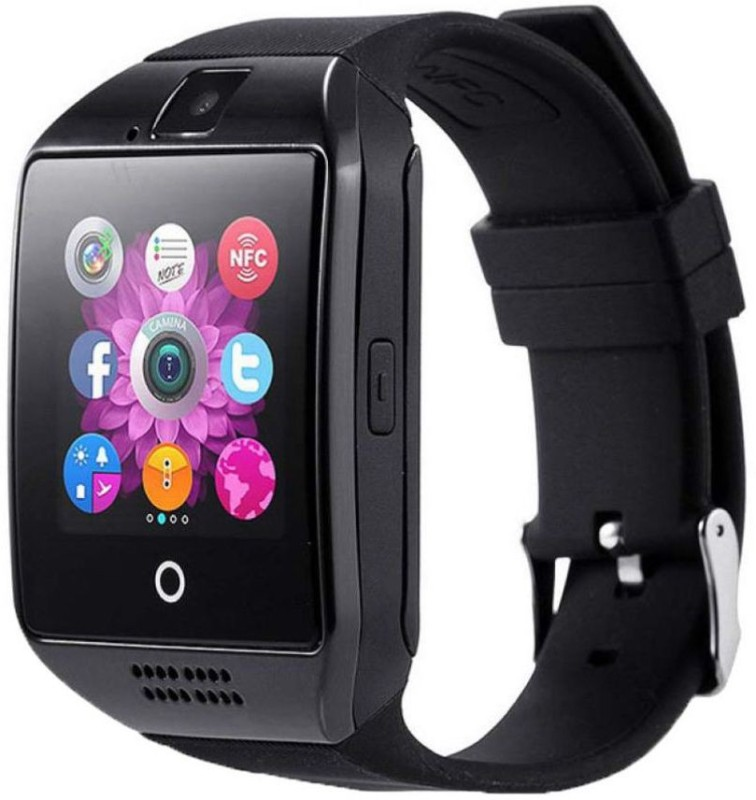JOKIN Certified Bluetooth Q18 4G BLACK Wrist Watch Phone with Camera & SIM Card Support Hot Fashion New Arrival Best Selling Premium Quality Lowest Price with Apps like Facebook, Whatsapp, QQ, WeChat, Twitter, Time Schedule, Read Message or News, Sports, Health, Pedometer, Sedentary Remind & Sleep M