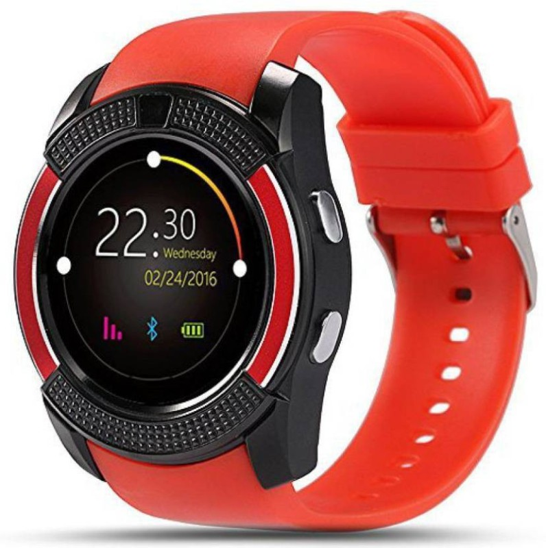 Estar Certified Bluetooth V9 4G RED Wrist Watch Phone with Camera & SIM Card Support Hot Fashion New Arrival Best Selling Premium Quality Lowest Price with Apps like Facebook, Whatsapp, QQ, WeChat, Twitter, Time Schedule, Read Message or News, Sports, Health, Pedometer, Sedentary Remind & Sleep Moni