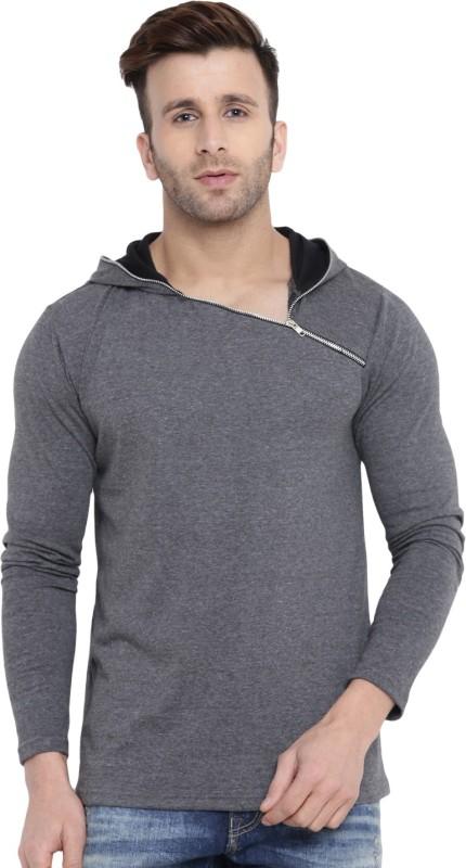 Gritstones Solid Men Hooded Grey T-Shirt
