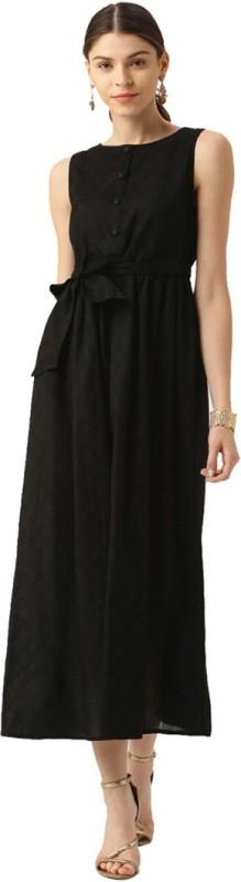 Jaipur Kurti Women Maxi Black Dress
