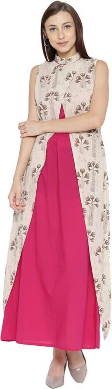 Jaipur Kurti Women Maxi Pink, Beige Dress