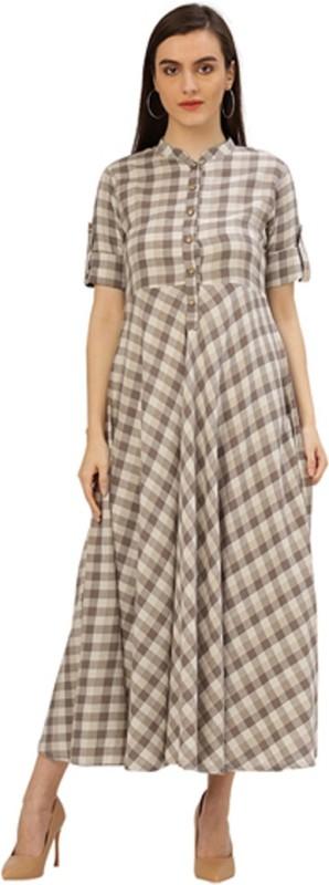 Jaipur Kurti Women Maxi Beige, Grey Dress