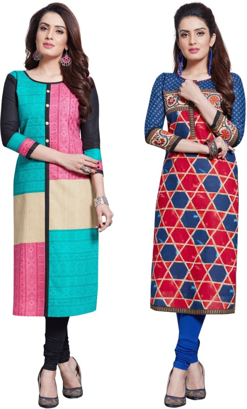 Salwar Studio Cotton Printed Kurti Fabric(Un-stitched)