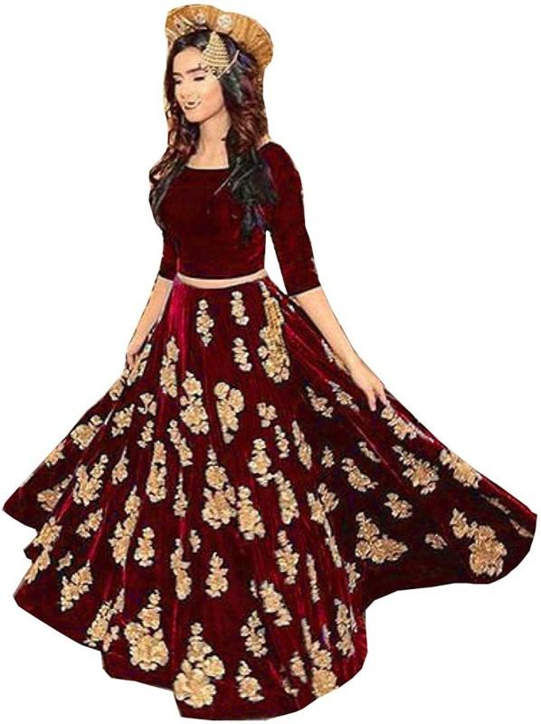 Omstar Fashion Embroidered Lehenga Choli(Maroon)