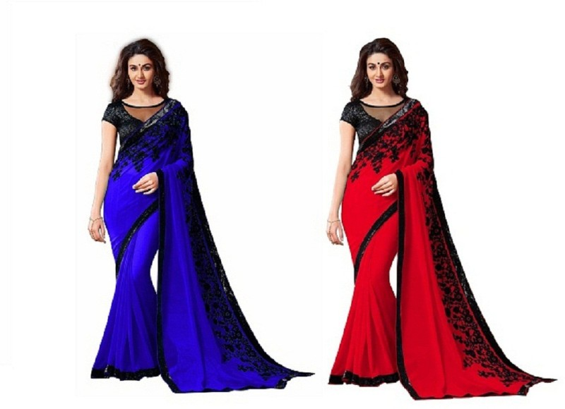 SNH Export Solid Fashion Georgette Saree(Pack of 2, Red, Blue)