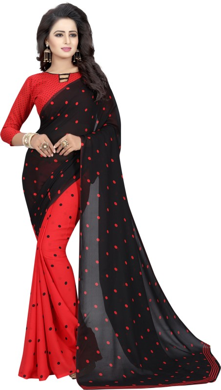 Salwar Studio Printed Bollywood Georgette Saree(Red)