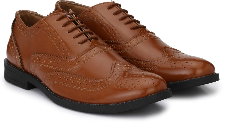Hirels Hirels Tan Oxford Wingtip Brogue Derby For Men(Tan)