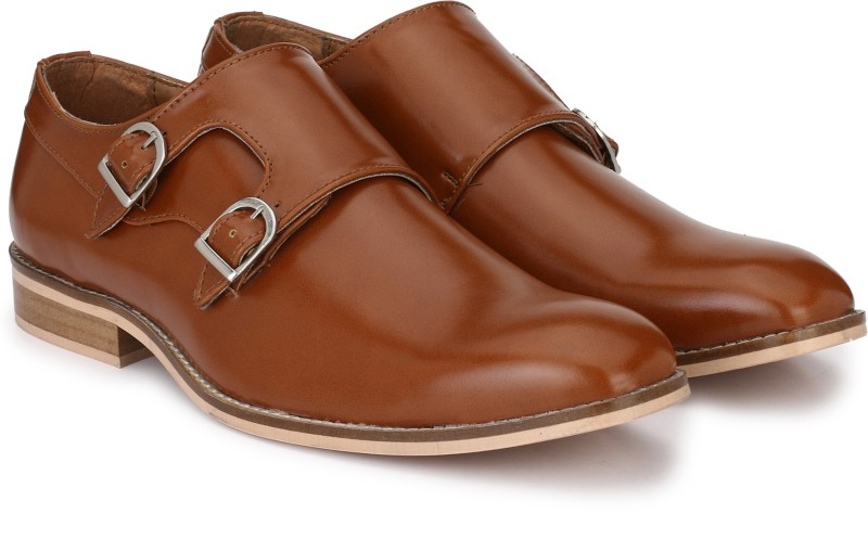 Hirels Hirels Tan Double Monk Cap Toe Premium Formal Shoes Monk Strap For Men(Tan)