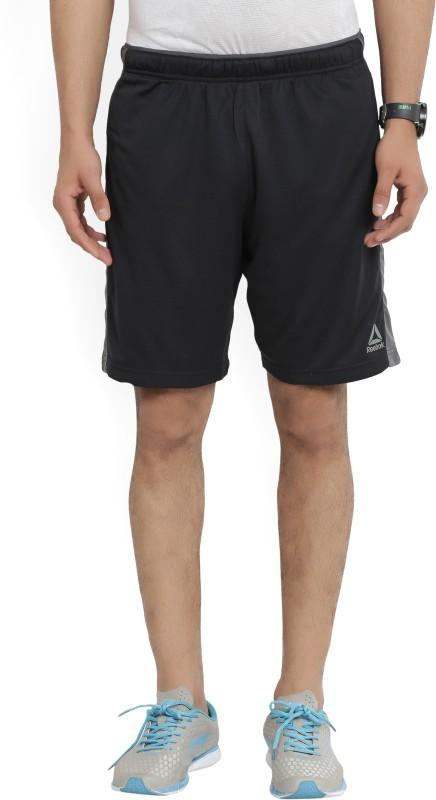 REEBOK Self Design Mens Black Sports Shorts
