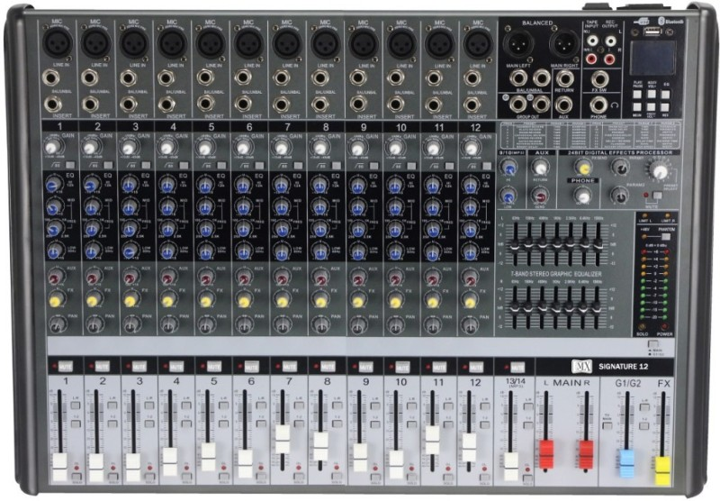 MX SIGNATURE 12 Live Audio Mixer Powered Sound Mixer