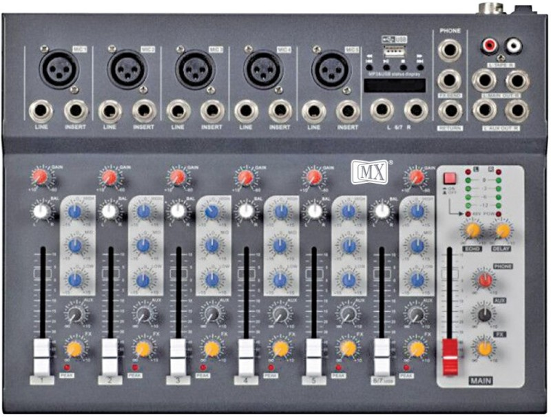 MX F7 USB Live Audio Mixer with Built In USB and Bluetooth Powered Sound Mixer