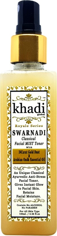 KhadiGlobal Swarnadi Classical Facial MIST Toner With 24K Gold Dust & Arabian Oudh Essential Oil 100ml.(100 ml)