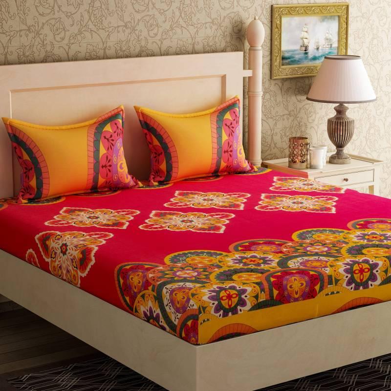 Bella Casa 104 TC Cotton Double Printed Bedsheet
