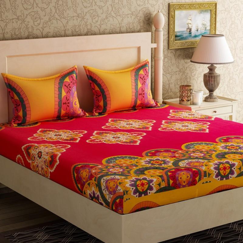 Bella Casa 104 TC Cotton Double Printed Bedsheet(1 Double Bed Sheet +...