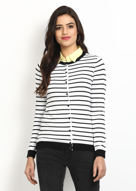 United Colors of Benetton Womens Button Striped Cardigan