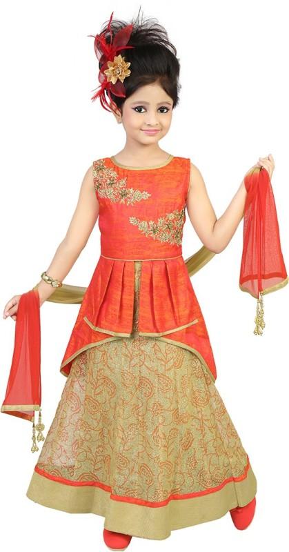 Kool Kids Girls Lehenga Choli Ethnic Wear, Party Wear Self Design Lehenga,...