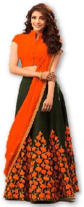 color bucket Embroidered Semi Stitched Lehenga, Choli and Dupatta Set(Orange, Black)